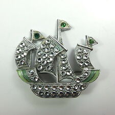 Antique Art Deco Staybrite Charles Horner Galleon Ship Brooch Faux Marcasite