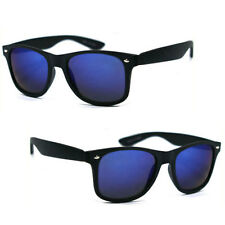POLARIZED Retro Classic Wayfarer Sunglasses 52mm Matte Frame  Blue Flash Lens