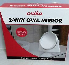 2-Way OVAL Mirror 2 Mirrors Reverse 2x MAGNIFYING Dressing Table Bathroom Travel