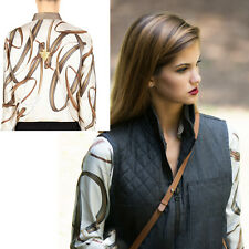 38 NEW $895 GUCCI Ivory Silk EQUESTRIAN 1921 BELT PRINT Button Front SHIRT TOP