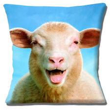 """NEW Funny Sheep Laughing Close Up Head Photo Print 16""""  Pillow Cushion Cover"""