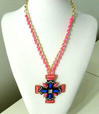 Gold Plated Necklace Gothic Cord Cross Girls Pink Blue Resin Pendant Womens