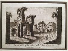 """Venuti Ridolfino Antique Etching Laid Paper """"Rovine della Gran Sala"""" Rome"""