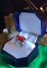 Vintage Costume Cocktail Ring Huge Ruby Red Color Crystal Rhodium Plate 6