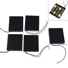 5 Pcs 4 AA 2A Battery 6V Holder Box Case with Switch 2 Leads Wires Black HQ New