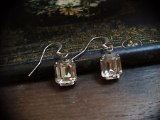 Vintage Emerald Cut Clear Crystal Drop Pierced Earrings