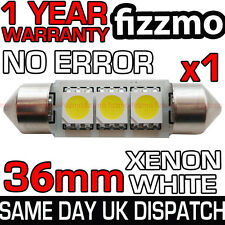 36mm 239 272 SV8.5 6000k BRIGHT WHITE 3 SMD LED FESTOON LIGHT BULB NO ERROR FREE