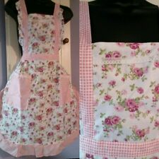 Retro 1950s Vintage Style Floral Country Cottage Apron Lined +Pockets Cotton UK