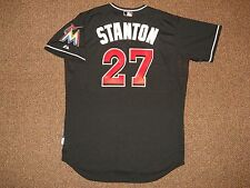 Giancarlo Stanton Miami Marlins Black Cool Base Authentic Jersey sz 48 Majestic