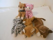 5 Ty Beanie Babies CATS KITTEN PURRY MATTIE POUNCE PRANCE  Retired No HearT Tag