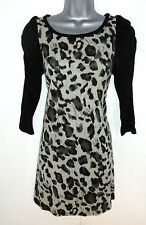 Stunning Mina UK Animal Print Wool mix Tunic Jumper Dress Size S/M