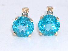 Blu Topaz Orecchini a bottone 585 GIALLO 14kt GOLD disapplicate. Blu Blu Topaz 2 brillanti