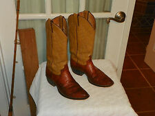 JUSTIN MENS BROWN COGNAC LIZARD SKIN LEATHER COWBOY WESTERN BOOTS size 7 D USA