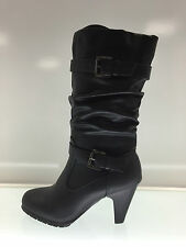LADIES WOMENS CALF HIGH BLACK LEATHER STYLE SLOUCHED MID HEEL BOOTS SHOES SIZE 5