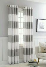 1 threshold window curtain Drapery panel gray white bold stripe 54 x 84 grommet