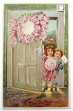 Pretty CHILDREN Bring VALENTINE Wishes & Flowers Postcard EMB Silver