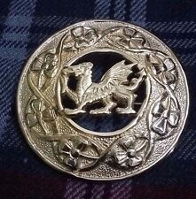 Kilt Fly Plaid Brooches Dragon/Celtic Welsh Dragon Fly Plaid Brooch Gold 3""