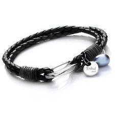 Tribal Steel 19cm Ladies Black Pearl & Leather Bracelet