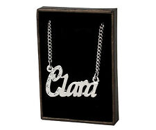 "Name Necklace ""CLARA"" - 18ct White Gold Plated - Swarovski Elements - Birthday"