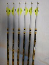 6 Gold Tip Hunter Pro 5575 400 Carbon Arrows Custom White Dip Crest/Blazer Vane