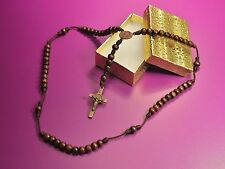ST BENEDICT WOOD BEADS ROSARY HANDMADE BY NUNS AND BLESSED BY POPE FRANCIS - USA