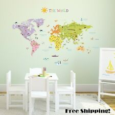 World Wall Sticker Map Globe Decor Decal Tattoo Transfer Art Large Kids Playroom