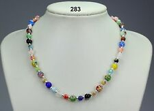 Pretty multi-coloured millefiore glass bead necklace, silver-plated ball spacers