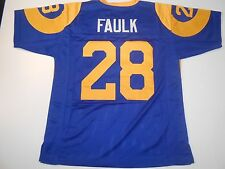 St. Louis Rams Marshall Faulk UNSIGNED CUSTOM Blue Jersey - XL