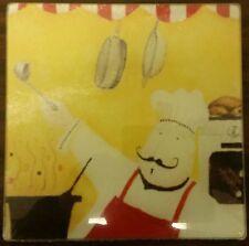 "RARE NEW Cutting Board / TRIVET, Glass, SQUARE, FAT CHEF, approx 8"" x 8"""