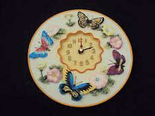 "Butterflies 3D Wall Clock, Polystone 8"" Round ~ Kitchen, Nursery, Bedroom, Patio"