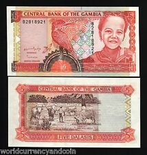 GAMBIA 5 DALASI P16 1996 BIRD CATTLE UNC ANIMAL CURRENCY MONEY BILL BANK NOTE