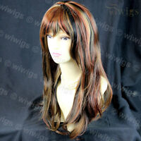 Sexy Wavy Blonde mix Black mix Red 3 Tone Long Ladies Wigs from WIWIGS UK