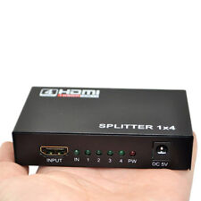 HDMI Splitter Adapter 1X4 4 Port Hub Repeater Amplifier v1.4 3D 1080p 1 in 4 out