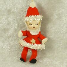 Vintage Christmas Elf Ornament Paper Mache/Composition Head Felt Outfit-So Cute!