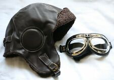 Biggles Leather Flying Helmet WITH GOGGLES WW2 style Leather Bomber Aviator hat.