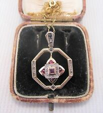 A Pretty Art Deco Design Ruby Sapphire & Diamond Pendant set in 9ct Yellow Gold