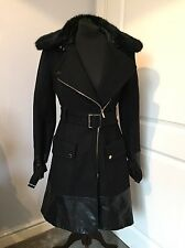 Gorgeous Karen Millen Black Wool Fur Collar Faux Leather Trim Coat Jacket UK 8