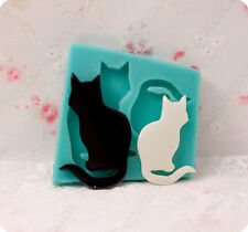Exclusive Silicone Mold for 2 Cats/Kittens, flexible mold for epoxy resin.
