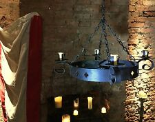 Vintage Chandelier Gothic Style Round Wrought Iron 4 Arm  / Castle Hanging Light