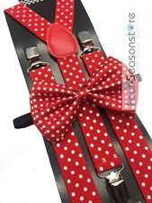 Red w/ White Polka Dot Bow Tie And Suspender Matching Set Tuxedo Wedding Party