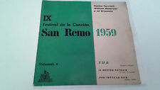 """IX FESTIVAL DE LA CANCION SAN REMO 1959"" EP 7"" SPANISH SINGLE A/A 1959 TUA TONI"