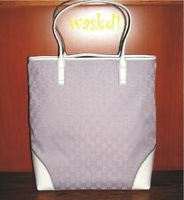 GUCCI large LILAC jacquard GG logo CANVAS white Leather TOTE bag NWT Authentic!