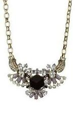 t+j  Black and Smoke Crystal Medallion Holiday Chain Statement Necklace