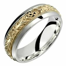 Two-Tone 14k Yellow Gold Ring 7mm Wide Engagement Ring Wedding Band Size 4 to 14