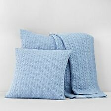 "Bloomingdale's 1872 Cable Knit 50""x70"" Throw Blanket BLUE Msrp $230 Y1309"