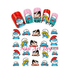 20 nail stickers water transfer-SMURFS-tattoo adesivi- PUFFI e PUFFETTA