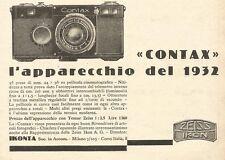 W2963 Zeiss Ikon CONTAX - L'apparecchio...  - Pubblicità del 1932 - Old advert