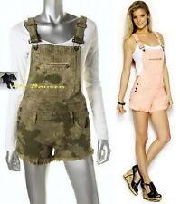 GUESS $108 NEW!! Cute.. Sun Faded Fern Camou Denim Shortall Jumpsuit Romper  L