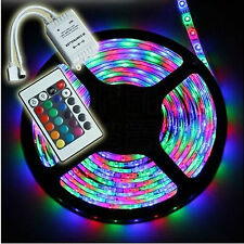 5M 3528 SMD RGB 300 LEDs Waterproof Flexible Strip Lighting 12V Receiver Remote