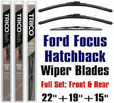 2000-2007 Ford Focus Hatchback Wiper Blades 3pk Front/Rear - 19220/19190/30150